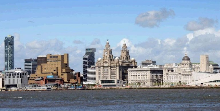 Liverpool's world famous waterfront featuring the Liver Buildings