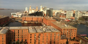View of the Albert Dock and Liver Buildings from the Echo Wheel
