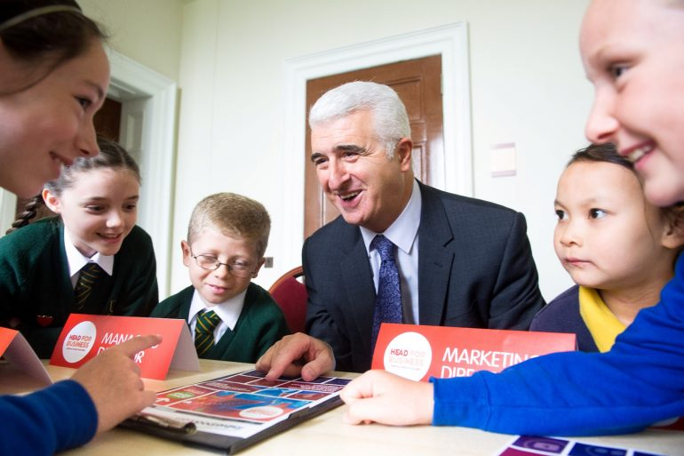 School pupils with Max Steinberg from Liverpool Vision