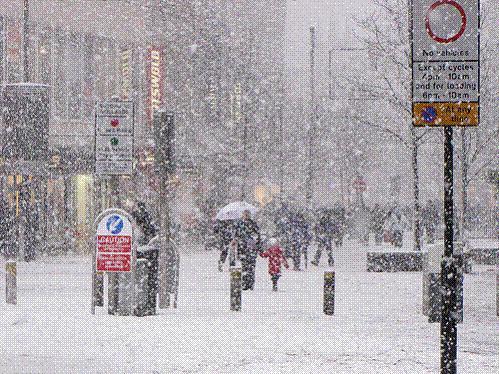 Snow scene city centre