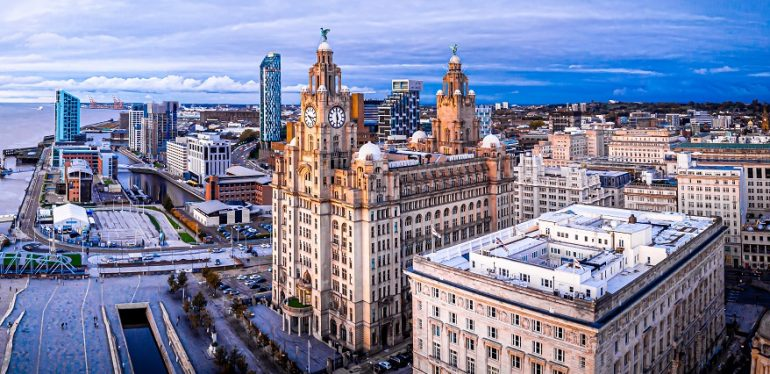 Liverpool aerial view of Liver Building